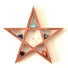 Items similar to Wooden Star Shelf // Handmade Timber Star // Altar // Jewellery Display // Crystal Display // Crystal Set // Wooden Shelf // Pentagram on Etsy Wooden Shelves, Wall Shelves, Display Shelves, Shelving, Diy Pallet Projects, Wood Projects, Displaying Crystals, Crystal Shelves, Wood Stars