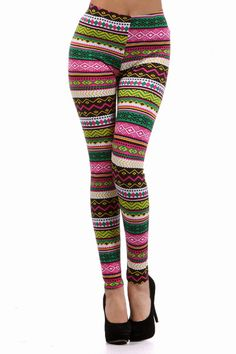 Colorful Aztec Leggings Main Plus Size Pink Front