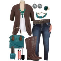 Maurice's Plus Size - Teal & Brown --- does the hand that wasn't properly cropped freak anyone else out? Jean Outfits, Casual Outfits, Fashion Outfits, Curvy Girl Fashion, Plus Size Fashion, Pretty Outfits, Cute Outfits, Plus Zise, Maurices Plus Size