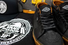 Shadow Conspiracy 10th Anniversary Vans   new Shadow Conspiracy SK8-mids.    Unlike the previous releases, these shoes come as a pack and are celebrating a decade of Shadow Conspiracy. With a trucker, a t-shirt accompanying the box, alongside these SK8-mid, 106 vulc gum sole, denim and suede sneakers. There are so many solid details here, right down to the waxed laces. Ten years in the cycling industry is no easy task.