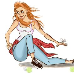 "Echa un vistazo a mi proyecto @Behance: ""Skate Girl"" https://www.behance.net/gallery/60859079/Skate-Girl"