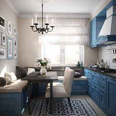 Having small living room can be one of all your problem about decoration home. To solve that, you will create the illusion of a larger space and painting your small living room with bright colors c… Small Living Room Layout, Blue Living Room Decor, Small Living Rooms, Kitchen Living, Kitchen Small, Small Living Room Kitchen Ideas, Cozy Kitchen, Eat In Kitchen, Kitchen Decor