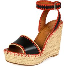 Valentino Whipstitch Ankle-Wrap Espadrille Sandal featuring polyvore, women's fashion, shoes, sandals, espadrilles, espadrille wedge sandals, platform wedge sandals, leather strappy sandals, leather wedge sandals and ankle wrap sandals