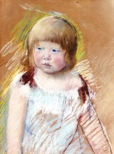 Child with Bangs in a Blue Dress - Mary Cassatt