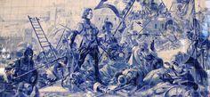 Pormenor  painel de azulejos no interior da estação de São Bento, retratando o Infante D. Henrique na conquista de Ceuta.