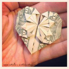 natalie's sentiments: Christmas stocking stuffer for a buck. Origami Dollar Bill Heart