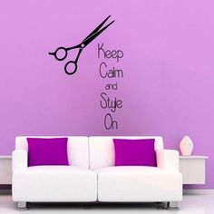 Fashion Words Keep Calm And Style On Hairdressing Beauty Salon Scissors Vinyl Home Art Wall Sticker Decal size 22x26 Color