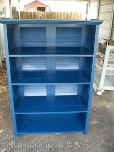 Shutters Repurposed into Bookshelf - My Repurposed Life™