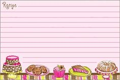 Sweets on Pink Recipe Card