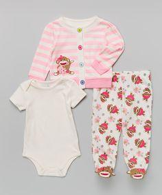 6d529c94383 Love this Sock Monkey Pink Sock Monkey Footie Pants Set - Infant by Sock  Monkey on
