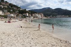 The beach in the bay of Port de Soller, mallorca. www.sollersecrets.com
