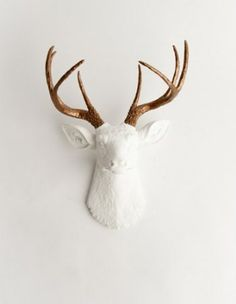 The Lydia | Resin Deer Head | White Deer Head w/ Bronze Metallic Antlers Wall Decor | Stag Head Wall Mount | Faux Taxidermy | Animal Head Wall Hanging Sculpture | Animal Mounts | Trophy Taxidermy: Home & Kitchen