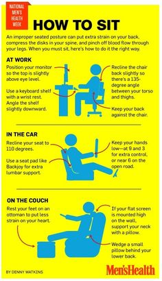 Sitting posture is incredibly important. Poor posture could result in back pain that eventually leads to chronic pain. This graphic explains proper posture. Fitness Hacks, Health And Wellness, Health Tips, Health Fitness, Men's Fitness, Key Health, Spine Health, Muscle Fitness, Fitness Quotes