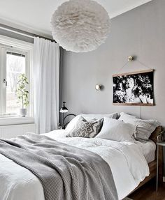 bedroom in white and grey