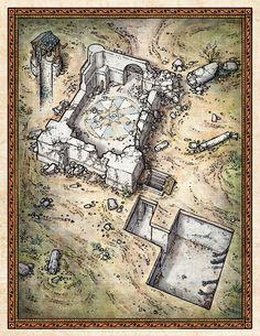 Temple Ruins Cutaway Illustration