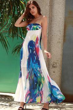Bandeau Maxi Strapless Print Swing Beach Boho Dress - Blue - M Maxi Skirts 7701a59a3