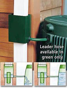 Buy the downspout diverter and use it to direct water from gutters to your rain barrels. Catch and conserve rain water. Rv Hacks, Water Collection System, Jardin Decor, Water Barrel, Casa Patio, Advantages Of Solar Energy, Rainwater Harvesting, Water Conservation, Water Systems
