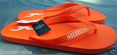 Hollister Dudes Heritage Classic Orange Beach Flip Flops Large 11 12 New