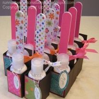 Cute diy for co-workers birthdays. Use nail polish instead of lotion.