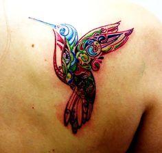 Hummingbird tatoos | Colorful Hummingbird Tattoos