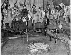 Piegan lodge interior, Montana 1908.  Found on Facebook.  ac