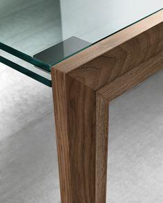EXTENDING RECTANGULAR WOOD AND GLASS TABLE LAPSUS BY T.D. TONELLI DESIGN | DESIGN FRANCESCA ARRIGHI, NISCO