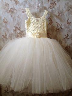 Ivory Cream flower girl tutu dressflower girl dresstutu by Qt2t, $99.99