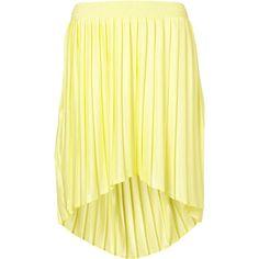 Pleated Dip Hem Skirt ❤ liked on Polyvore