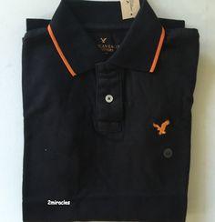 American Eagle Men's Classic Fit Tipped Polo Shirt Cotton Black Orange XS Fall…