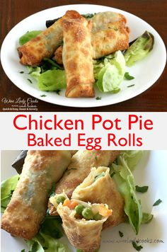 Chicken Pot Pie Baked Egg Rolls Air Fryer Recipe, side dish, appetizer, game day snacks. Click thru for easy recipe.