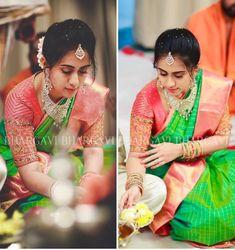 Bhargavi Kunam - Defining Elegance With Her Kanjeevaram Silk Saree Collection Pattu Saree Blouse Designs, Blouse Designs Silk, Bridal Blouse Designs, Blouse Patterns, Wedding Silk Saree, Bridal Sarees, Indian Bridal Wear, Elegant Saree, South Indian Bride
