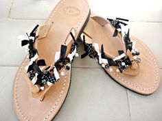 Greek leather sandals - Black white sandals -Black chain decorated sandals - Pearl sandals - Greek leather sandals with pearls - Women flats by dadahandmade on Etsy