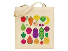 These natural cotton tote bags have a full colour print of kawaii fruit and vegetables