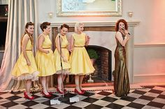 Bridesmaids from this vintage wedding also acted as backing singers http://readyorknot.co.uk/real-weddings/vintage/amy-and-al/  #vintage #wedding #bridesmaids
