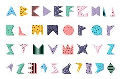 Color alphabet in memphis style. - Objects