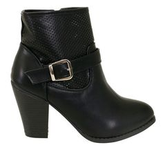 Adina-66 Black Perforated Buckle Strap Chunky Heel Ankle Booties - Traffic Shoe