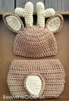 Looking for your next project? You're going to love Newborn Crochet Deer Outfit PATTERN Baby by designer BeeMineCrochet. Häkelanleitung Baby, Baby Set, Baby Newborn, Newborn Crochet Patterns, Baby Patterns, Crochet Deer, Knit Crochet, Crochet Beanie, Crochet Crafts