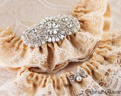 Wedding garter set Ivory stretch lace Bridal Garter by GarterQueen, $55.00