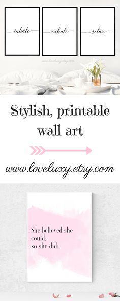 Check out stylish printable wall art at LoveLuxy, Etsy. The perfect decor for your bedroom, kitchen, living room, office, etc. White Bedroom | White bedroom decor | Interior design | Bedroom Decor | Office Decor | Office Goals | Printable wall art | Wall Art | Bedroom Design Ideas | Decor inspiration | Bedroom Design Inspiration | Inhale Exhale | Stylish Bedroom | Stylish bedroom Decor | home decor #bedroomideas #decorideas #bedroom
