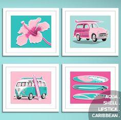 surfer girl pink surf decore beach art prints surf art prints - custom colors- girls surfing decor. $45.00, via Etsy.