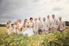 Christina | Brideside - all the wedding party -- chiffon dresses & 'linen' suits?