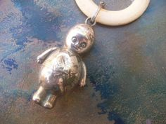 Adorable Vintage Antique Silver Plate  Baby Rattle by VintageEnvy, $105.00
