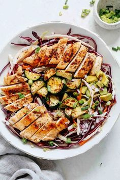 Chicken cabbage salad combines fresh vegetables and grilled chicken with a simple dressing. Make this recipe tonight for an easy meal in 20 minutes! Cabbage Salad Recipes, Healthy Salad Recipes, Lunch Recipes, Keto Recipes, Chicken And Cabbage, How To Shred Cabbage, Coleslaw Salad, Clean Eating, Healthy Eating