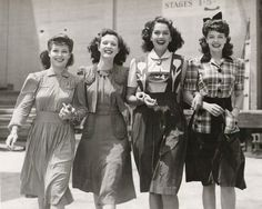 1940s Young starlets each in a different adorable matched outfit. My favorite is Kay Harris' dress on the right. Love the mix of plaid and solid colors. And those buttoned pockets!