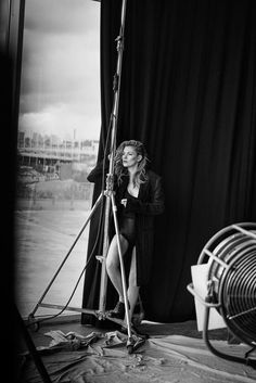 """An example of how we like the lighting equipment being shown in the shots. very """"on set"""" but still glam and chic Kate Moss (Vogue Italia)"""