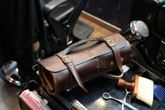 Leather Barber tools case, roll up style, by Samai