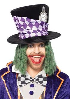 Mad Hatter Super Tall Purple Velour Top Hat Over Sized Novelty Costume Hat OS