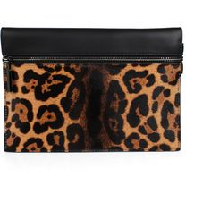 Victoria Beckham Leopard Small Zip Pouch ($875) ❤ liked on Polyvore featuring bags, handbags, clutches, zip pouch, genuine leather purse, leather handbags, zip purse and leopard clutches