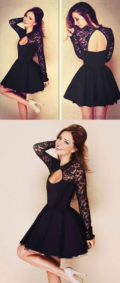 So sexy dress ! Hollow See Through Black Lace Stitching Pleated Dresses #dress #hollow #women #lace #black #party