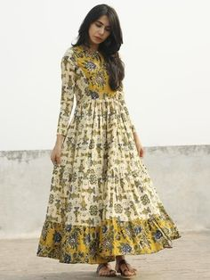 Ivory Mustard Yellow Indigo Green Black Long Hand Block Cotton Tier Dress - D139F005